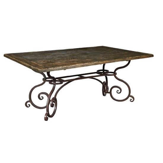 """72"""" Rectangular Dining Table with Metal Base (Black Forest)"""