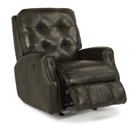 Devon Power Rocking Leather Recliner with Nailhead Trim