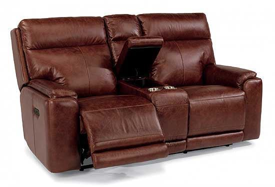 Sienna Reclining Leather Loveseat with Console