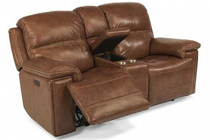 Fenwick Power Reclining Leather Loveseat with Console