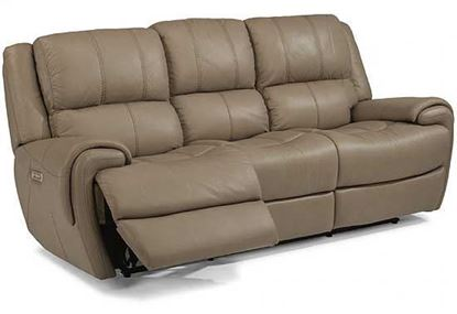 Nance Power Reclining Leather Sofa with Power Headrest