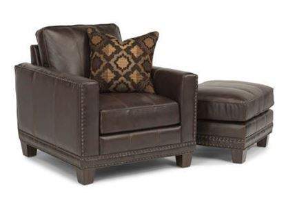 Port Royal Leather Chair & Ottoman Model 1373-10-08