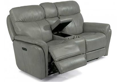 Zoey Leather Loveseat with Console