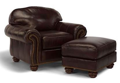 Bexley Leather Chair & Ottoman w/Nails (3648-10-8)