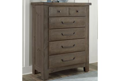 Sawmill 5 Drawer Chest in a Saddle Gray finish