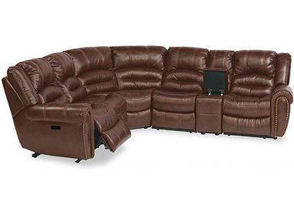 Town Leather Reclining Sectional with Power Headrest (1010-SECTPH) by Flexsteel furniture